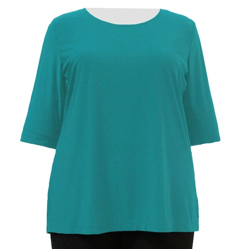 Jade 3/4 Sleeve Round Neck Pullover Top Women's Plus Size Top