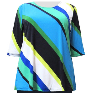 Multi Diagonal Stripe 3/4 Sleeve Round Neck Pullover Top Women's Plus Size Top