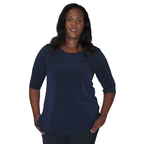 Navy 3/4 Sleeve Round Neck Pullover Top Women's Plus Size Top