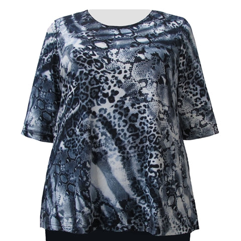 Navy Leopard Abstract 3/4 Sleeve Round Neck Pullover Top Women's Plus Size Top