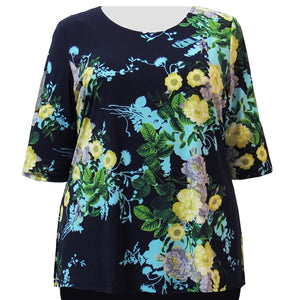 Navy Floral 3/4 Sleeve Round Neck Pullover Top Women's Plus Size Top