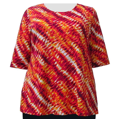 Ombre Flame 3/4 Sleeve Round Neck Pullover Top Women's Plus Size Top