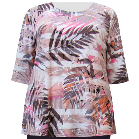 Peach Palms 3/4 Sleeve Round Neck Pullover Top Women's Plus Size Top
