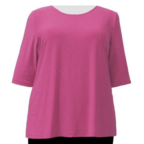 Pink 3/4 Sleeve Round Neck Pullover Top Women's Plus Size Top