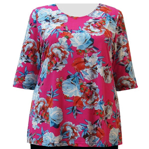 Pink Bouquet 3/4 Sleeve Round Neck Pullover Top Women's Plus Size Top