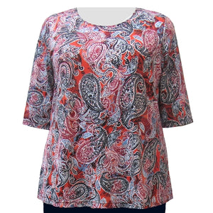 Paprika Paisley 3/4 Sleeve Round Neck Pullover Top Women's Plus Size Top