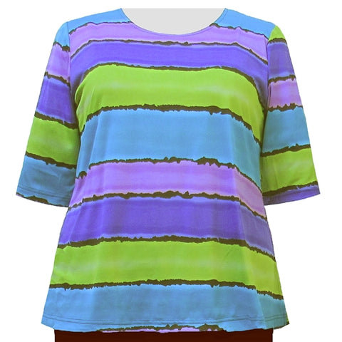 Painted Stripe 3/4 Sleeve Round Neck Pullover Top Women's Plus Size Top