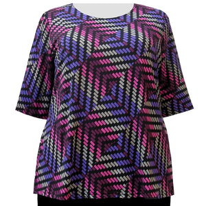 Purple Geometric 3/4 Sleeve Round Neck Pullover Top Women's Plus Size Top