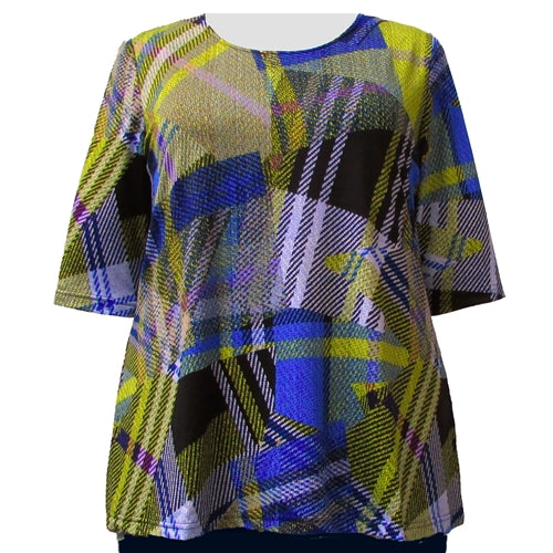 Royal Chartreuse Geometric 3/4 Sleeve Round Neck Pullover Top Women's Plus Size Top