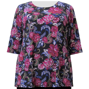 Rose Flourish 3/4 Sleeve Round Neck Pullover Top Women's Plus Size Top