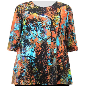Sunset Forest 3/4 Sleeve Round Neck Pullover Top Women's Plus Size Top