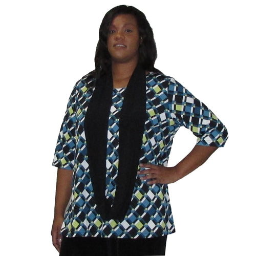 Teal Lattice 3/4 Sleeve Round Neck Pullover Top Women's Plus Size Top