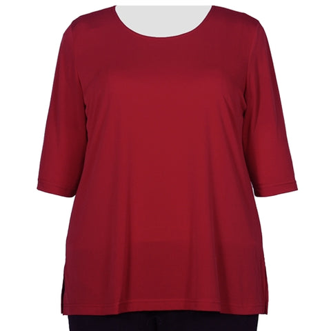 Red 3/4 Sleeve Round Neck Pullover Top Women's Plus Size Top
