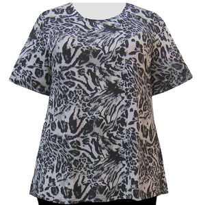 Animal Patchwork Short Sleeve Round Neck Pullover Top Women's Plus Size Top