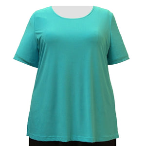 Aqua Round Neck Pullover Top Women's Plus Size Top