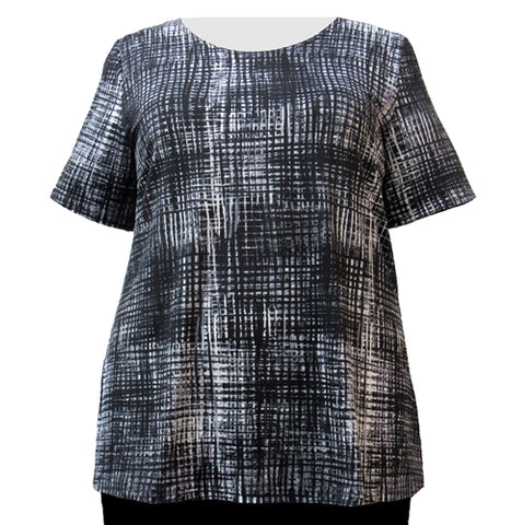 Black & Grey Grid Round Neck Pullover Top Women's Plus Size Top