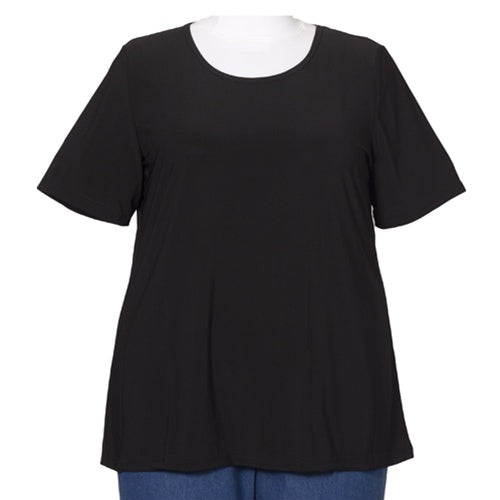 Black Round Neck Pullover Top Women's Plus Size Top