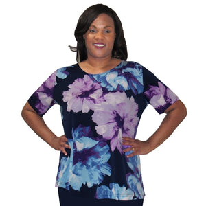 Blue Blossom Short Sleeve Round Neck Pullover Top Women's Plus Size Top