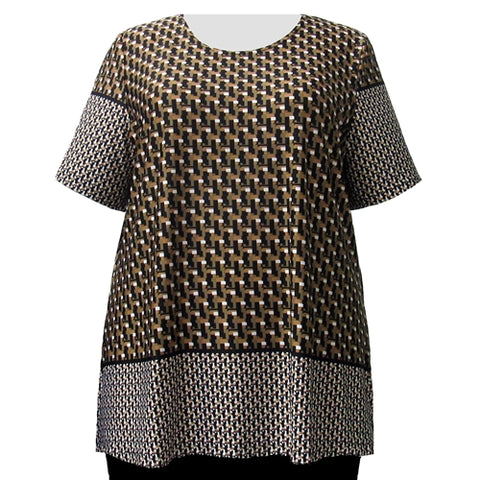 Brown Geometric Border Print Round Neck Pullover Top Women's Plus Size Top