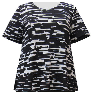 Black & White Abstract Geometric Short Sleeve Round Neck Pullover Top Women's Plus Size Top