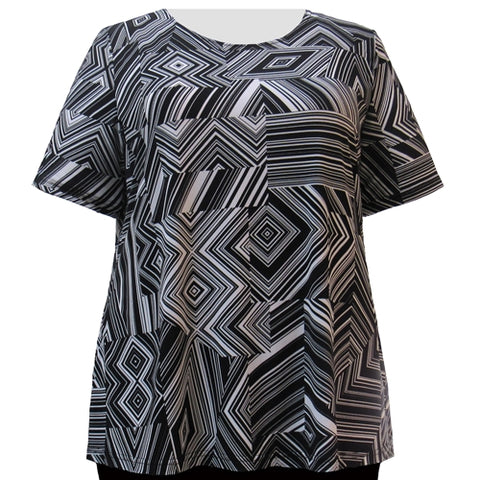 Black & White Linear Geometric Short Sleeve Round Neck Pullover Top Women's Plus Size Top