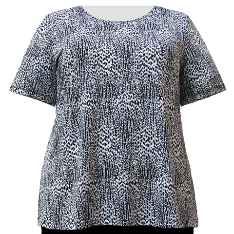 Black & White Trellis Vine Round Neck Pullover Top Women's Plus Size Top