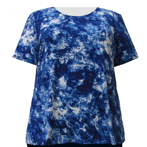 Cobalt Indulgence Round Neck Pullover Top Women's Plus Size Top
