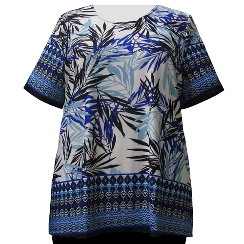 Cobalt Floral Border Print Round Neck Pullover Top Women's Plus Size Top