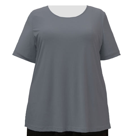 Charcoal Grey Round Neck Pullover Top Women's Plus Size Top