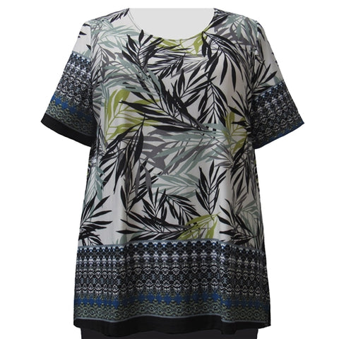 Green Floral Border Print Round Neck Pullover Top Women's Plus Size Top