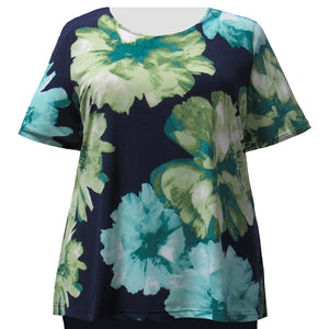 Green Blossom Short Sleeve Round Neck Pullover Top Women's Plus Size Top