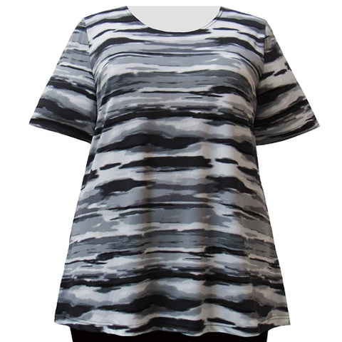 Grey Storm Short Sleeve Round Neck Pullover Top Women's Plus Size Top