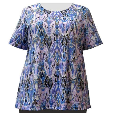 Lilac Ikat Round Neck Pullover Top Women's Plus Size Top