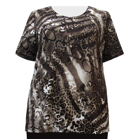 Leopard Abstract Round Neck Pullover Top Women's Plus Size Top