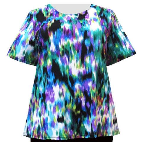 Multi Abstract Paint Short Sleeve Round Neck Pullover Top Women's Plus Size Top