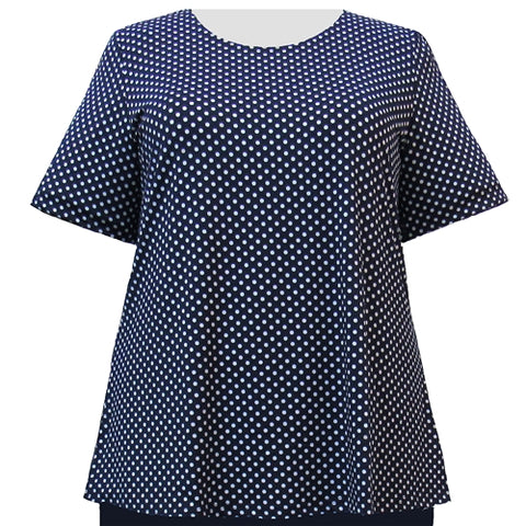 Navy Aspirin Dots Short Sleeve Round Neck Pullover Top Women's Plus Size Top