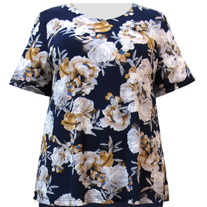 Navy Bouquet Short Sleeve Round Neck Pullover Top Women's Plus Size Top