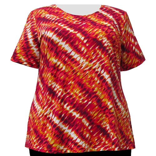Ombre Flame Round Neck Pullover Top Women's Plus Size Top