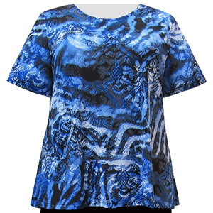 Ombre Damask Short Sleeve Round Neck Pullover Top Women's Plus Size Top