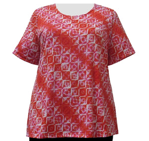 Orange Kaleidoscope Round Neck Pullover Top Women's Plus Size Top