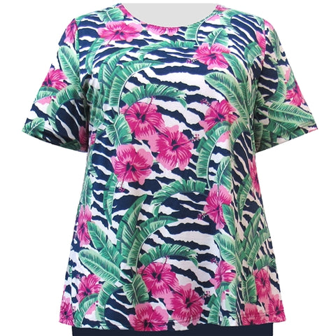 Paradise Short Sleeve Round Neck Pullover Top Women's Plus Size Top