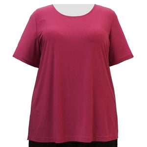 Pink Round Neck Pullover Top Women's Plus Size Top