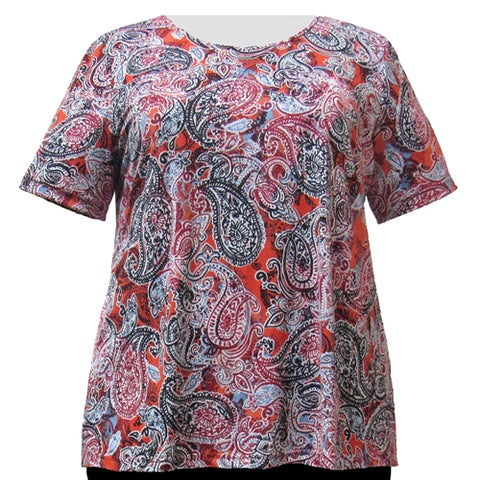 Paprika Paisley Round Neck Pullover Top Women's Plus Size Top