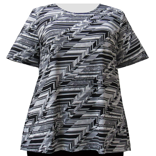Platinum Geometric Short Sleeve Round Neck Pullover Top Women's Plus Size Top