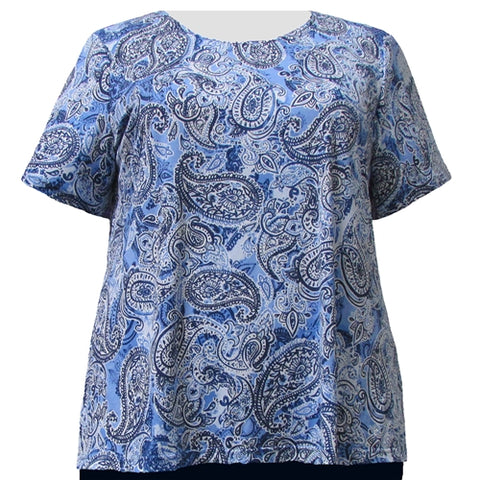 Periwinkle Paisley Round Neck Pullover Top Women's Plus Size Top