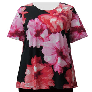 Red Blossom Short Sleeve Round Neck Pullover Top Women's Plus Size Top
