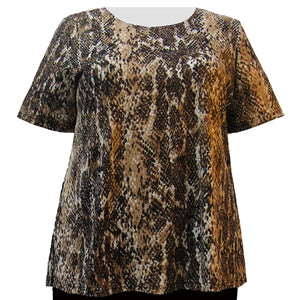 Reptile Foil Short Sleeve Round Neck Pullover Top Women's Plus Size Top