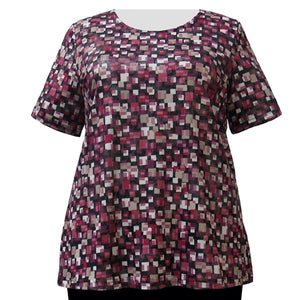 Raspberry Tetris with Silver Foil Round Neck Pullover Top Women's Plus Size Top