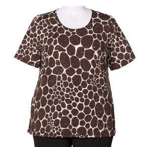 Stepping Stones Floral Round Neck Pullover Top Women's Plus Size Top