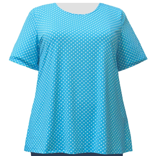 Turquoise Aspirin Dots Short Sleeve Round Neck Pullover Top Women's Plus Size Top